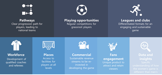 8 part framework showing pathways, playing opportunities, leagues and clubs, workforce, places, commercial, fans engagement and data and insights